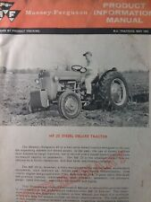 Massey Ferguson Mf 25 Diesel Deluxe Farm Ag Tractor Product Information Manual