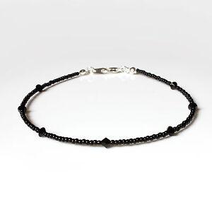 Black Swarovski Crystal Elements and Seedbead Anklet