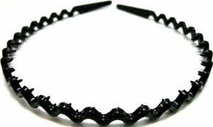 Black Wavy Sports Hairband Headband Girls Womens Ladies Kids Mens Gym Alice Band