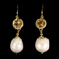Unheated Oval Citrine 9x7mm Pearl 17x14mm White Cz 925 Sterling Silver Earrings