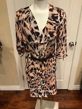Yoana Baraschi Tan & Black Animal Print Rufled Shirt Dress, Size 8
