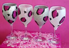 4 Rosa Plata Leopardo Brillo Copa De Vino presente Boda Cumpleaños Navidad