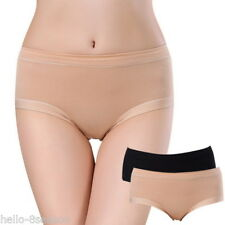 2X Women Apricot+Black Menstrual Period Pants Girls Mid-waist Large Briefs Short