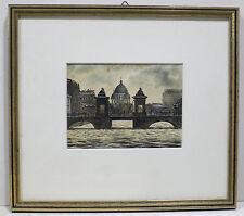 Gemälde (1950-1999) auf Papier im Impressionismus-Stil mit Aquarell-Technik