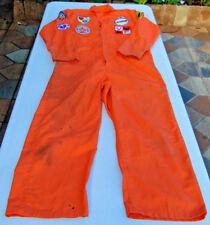 """Orange Jumpsuit w Vintage Fireman's Patches 42 LN 28"""" Inseam Mechanic Jail Fire"""