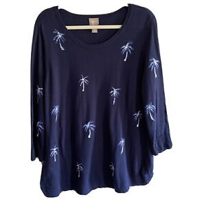 Chicos Size 3 Summer Jacquard Palm Pullover Sweater Light Weight Blue XL