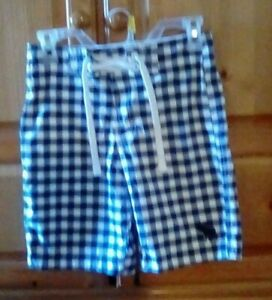 Abercrombie Boys Youth L Blue Checked Board Shorts