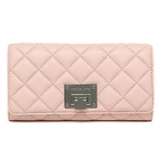 NEW Michael Kors Astrid Blossom Pink Silver Quilted Carryall Wallet Purse