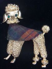Vintage Gold Tone Poodle Pin Brooch W Green Eyes Plaid Cover