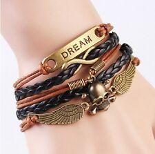 NEW Infinity Dream Skull Wings Friendship Antique Copper Leather Charm Bracelet