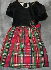 r- CLOTHES CHILODS SZ 6 DRESS BLACK VELVET, RED PLAID & TULLE CUTE GENTLY USED