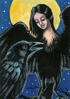 ACEO PRINT OF PAINTING RAVEN CROW FANTASY ART RYTA MOON WICCA WITCH Halloween
