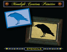 Primitive Stencil~Crows~Vintage~The Judge~Raven Black Bird Crow Feathers