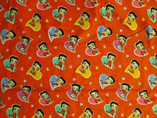 BETTY BOOP HEARTS LOVE RED FLANNEL FABRIC FQ OOP