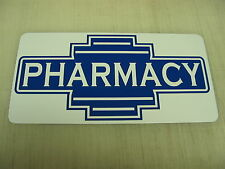 PHARMACY Metal Sign Bar Lunch Counter 40's 50s Vintage Style Art Deco Drug Store