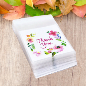 100XS Plastic Bags Thank you Cookie Candy Bag For Wedding Birthday Party Gift Ba