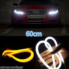 2×Switchback Headlight LED White Amber Strip DRL Daytime Light Tube Turn Signal