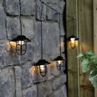 1m Plug In Outdoor Vintage Style Cage Lantern LED Fairy Lights | Garden Party
