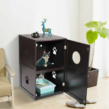 Pet Cat Hidden litter box 2-Tier Enclosure House Nightstand Furniture Brown