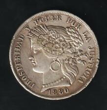 PERU 5 PESETAS 1880 BF, WITH DOT, SILVER VF CONDITION