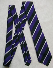 NEW PURPLE BLACK STRIPED TIE MENS NECKTIE OLD SCHOOL COLLEGE STRIPES VINTAGE