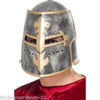 Fancy Dress Medieval Crusader Helmet w. Movable Face Shield Knight King Cosplay