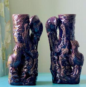 Rare Pair Of Late Victorian Burmantofts / Minton Faience Bird Spill Vases Purple