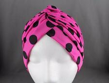 Pink Black dots hair wrap Turban twist pleated ladies head cap cover turband