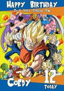Personalised Birthday Card Dragon Ball Z any name/age/relation
