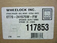 Wheelock 117853 Strobe Speaker Et70-24157W-Fr White New! in Box Free Shipping