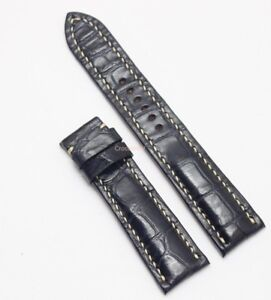 21mm/18mm Genuine Alligator Crocodile Leather Watch Strap Band Dark Blue