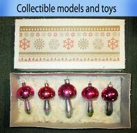 Soviet glass Christmas toy Mushrooms set of 5 pieces USSR 1960-1980, Vintage.