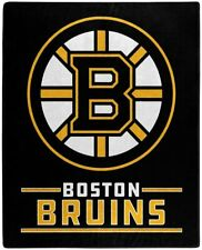 "NHL Boston Bruins Royal Plush Raschel Throw Blanket Size 50"" X 60"""