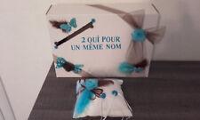 Coussin mariage alliances turquoise et chocolat + urne de mariage neuve
