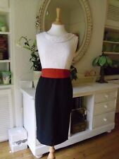 KAREN MILLEN DRESS 10 8 white broderie anglaise black skirt orange bow pencil