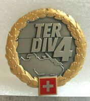 Swiss Military Officer 4th Territorial Division Metal Beret Badge