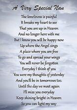 A Very Special Nan Memorial Graveside Poem Card & Free Ground Stake F90