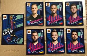 7 x Barcelona FC Stickers - Topps UEFA Champions League 2018/19 Collection Messi