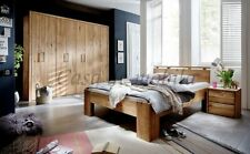 Massivholz Schlafzimmer set 3teilig komplett Falttürenschrank Wildeiche geölt