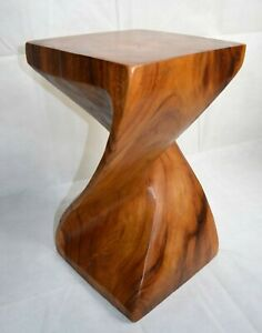 """Full Twist Side Table/Stool/Solid Acacia Wood/Lamp Table/Plant Stand/Waxed 20"""""""