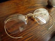 True Vtg 1940s Eye Glasses Frame Rimless Bausch & Lomb Gold Fill Hook Ear Specs