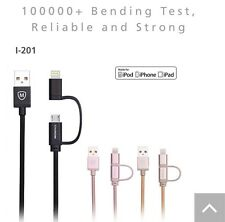 2 in 1 MFi Lightning Cable 3 ft USB Charger for Apple iPhone and android devices