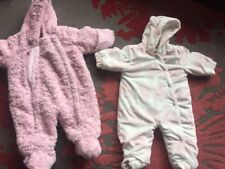 0-3 3-6 Months Baby Girls Girl Pramsuits Snowsuits Bundle Pink Next , George