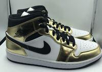 Nike Air Jordan 1 Mid Metallic Gold Black DC1419-700 Size 11