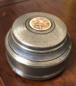 Powder Puff Music Box Vintage Round Metal Vanity Victorian Man & Woman - WORKS