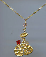 Made With Red Swarovski Crystal Elements Tree of Life Pendant Necklace