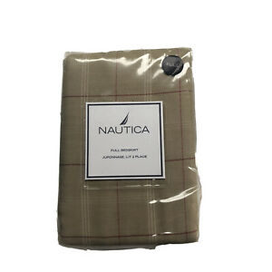Nautica Vintage Rose Plaid Twin Bed Skirt Beige Red Pink New Sealed In Package