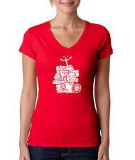 Puerto Rico Mix National Taino Symbols, Women V-Neck Tshirt