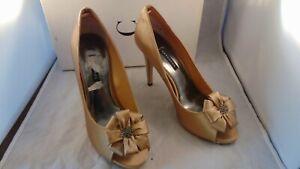 NEW Capparos NARITA Gold Silk Open Toe Pumps Dressy Bow w/Rhinestones 9M