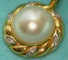 Pearl 12 Diamonds 0.15ct Enhancer Pendant Beautiful Vintage 14K Gold 15mm Mabe